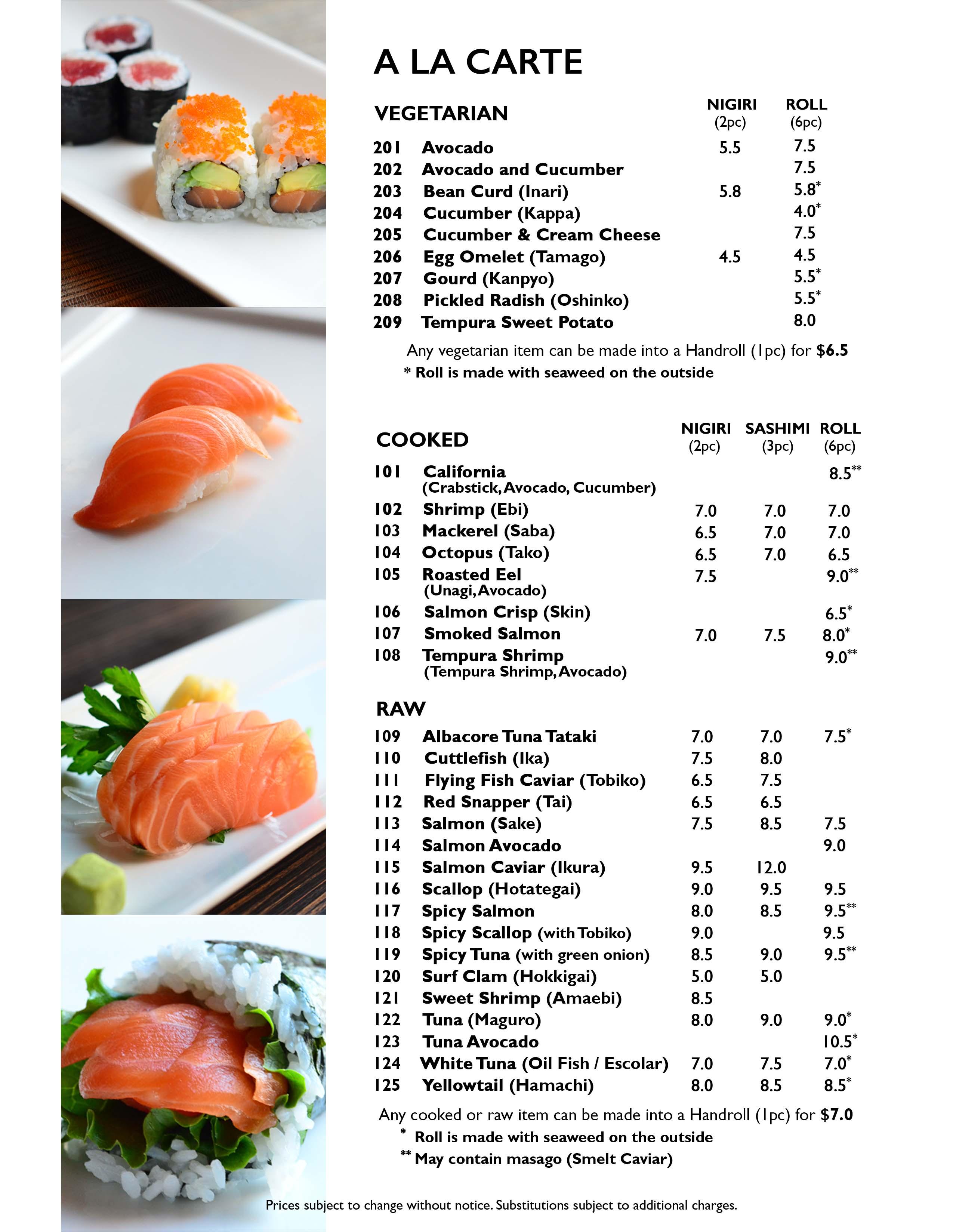 Sushi 88  Dinner Menu